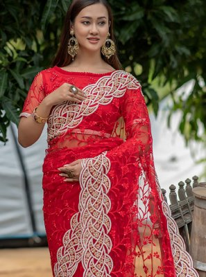 Net Embroidered Traditional Saree