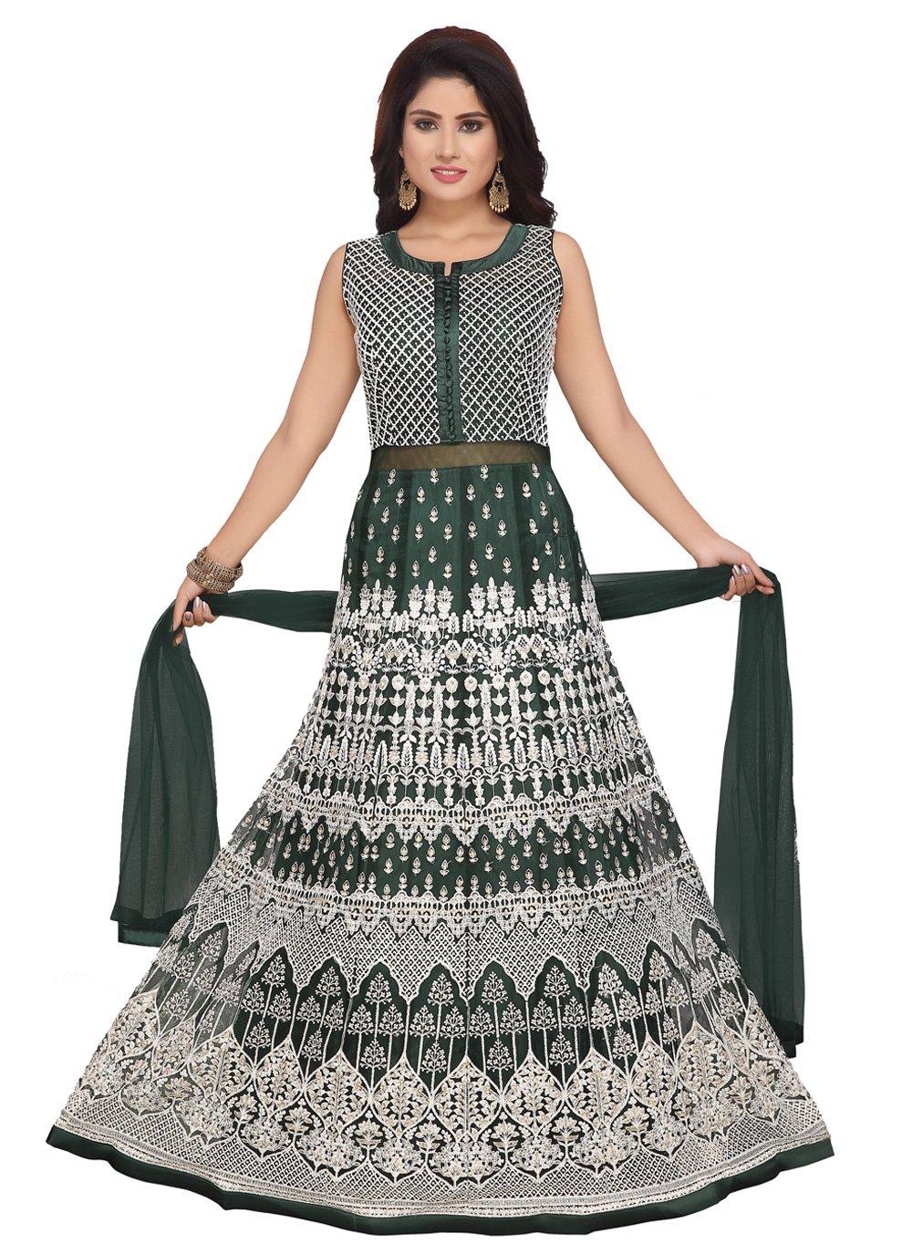 Net Embroidered Trendy Anarkali Salwar Suit in Green