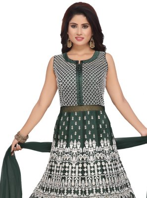 Net Embroidered Trendy Anarkali Salwar Suit in Green