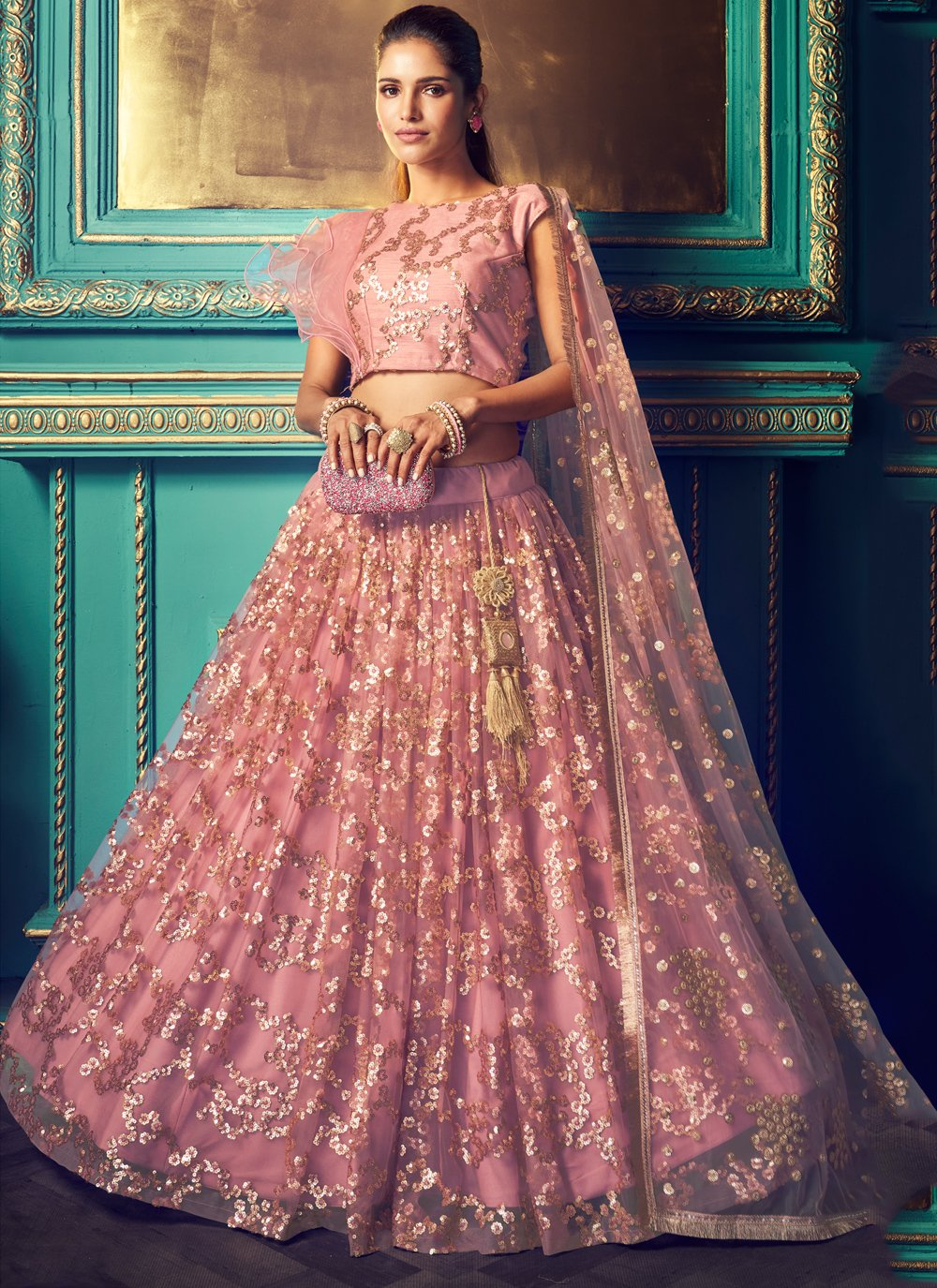Net Embroidered Trendy Lehenga Choli in Pink