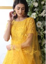 Net Embroidered Yellow Designer Gown