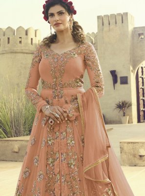 Net Floor Length Anarkali Suit in Peach