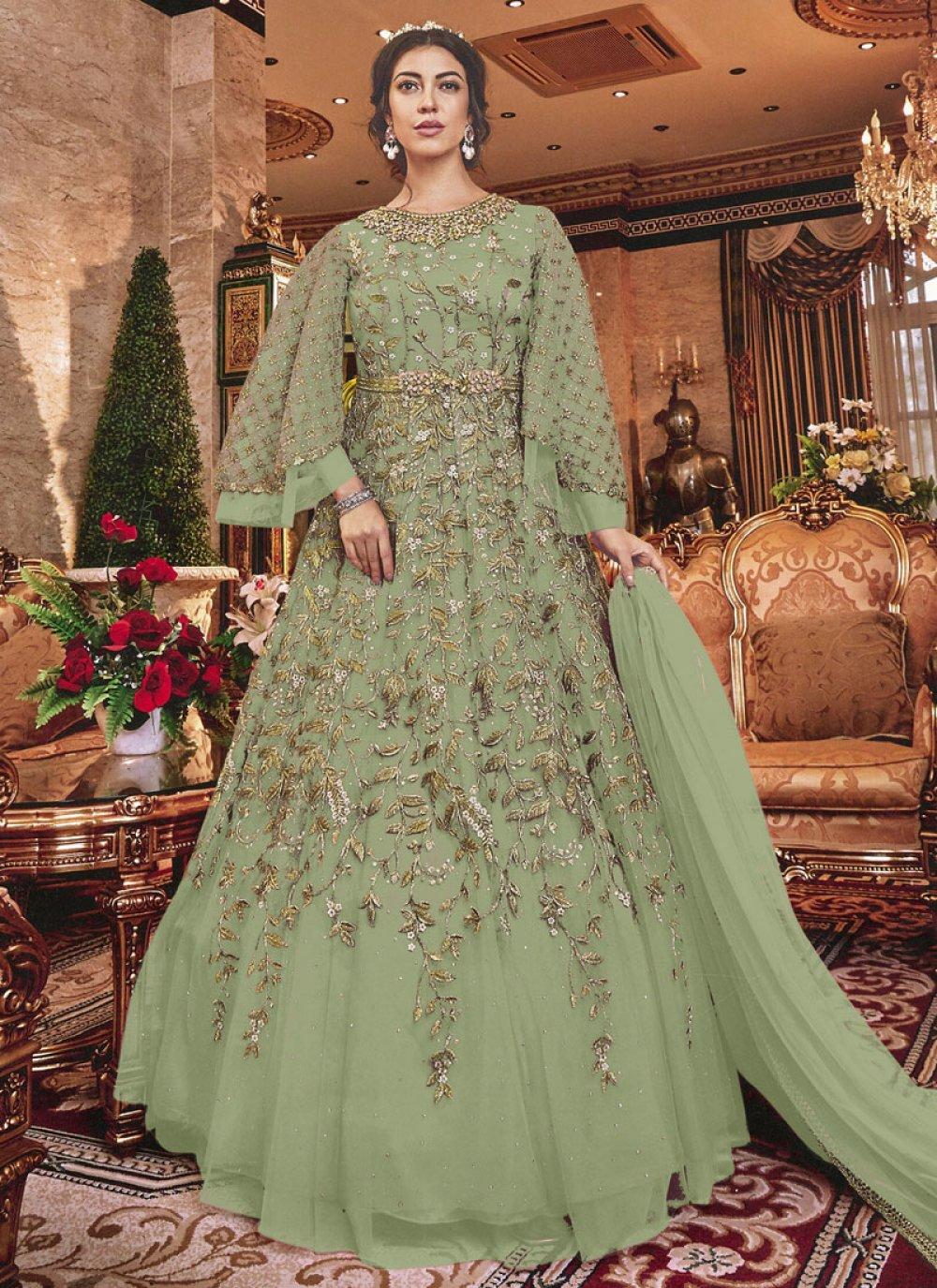 Net Green Anarkali Salwar Kameez
