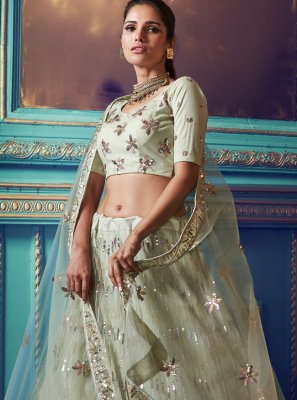 Net Green Embroidered A Line Lehenga Choli