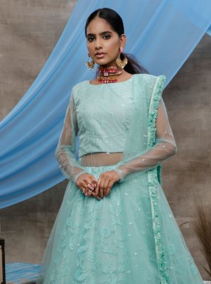 Net Green Embroidered Designer Lehenga Choli
