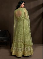 Net Green Embroidered Gown
