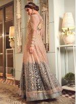 Net Grey and Peach Zari Trendy Long Length Anarkali Suit