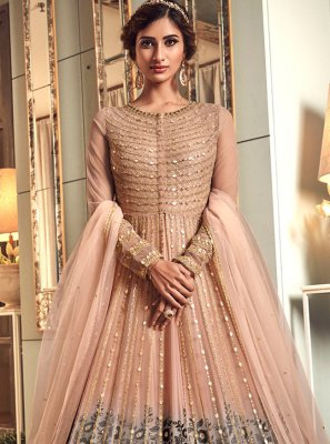 Net Grey and Peach Zari Trendy Long Length Anarkali Suit