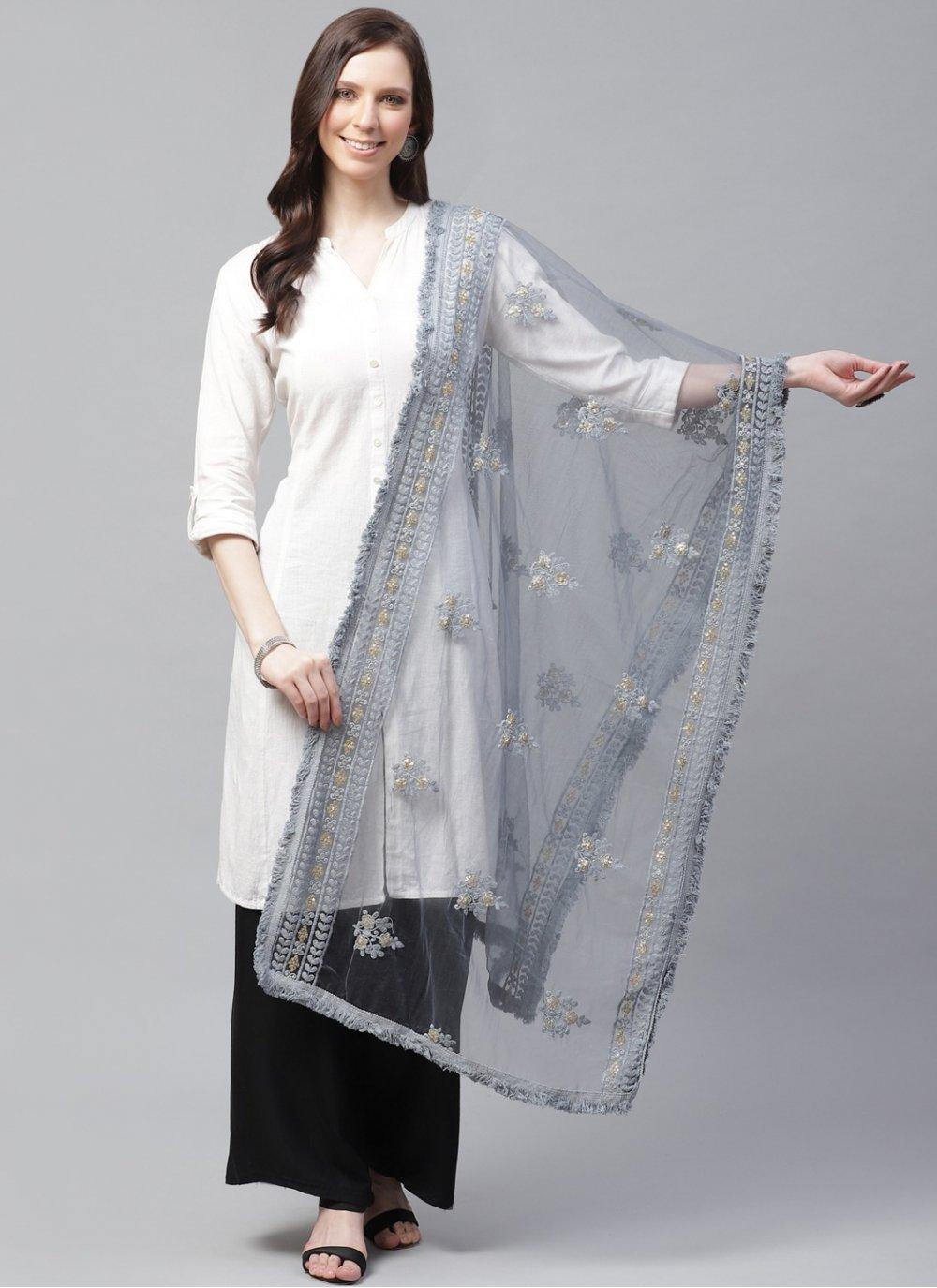 Net Grey Designer Dupatta