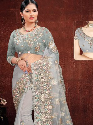 Net Grey Designer Saree