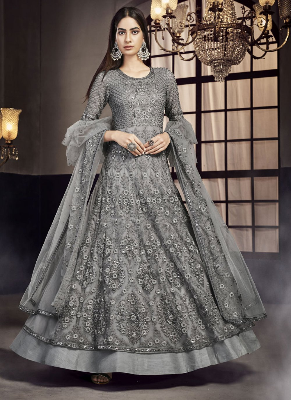 Net Grey Embroidered Trendy Lehenga Choli