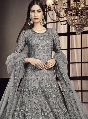 Net Grey Embroidered Trendy Lehenga Choli