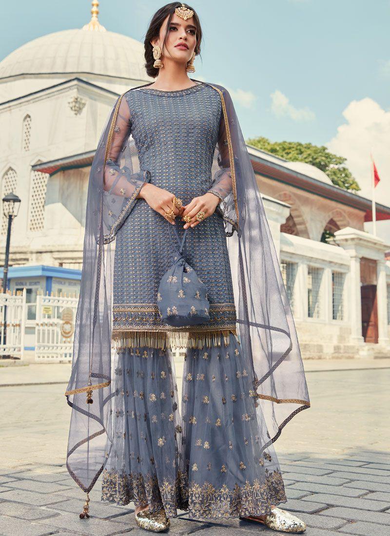 Net Grey Trendy Palazzo Salwar Kameez