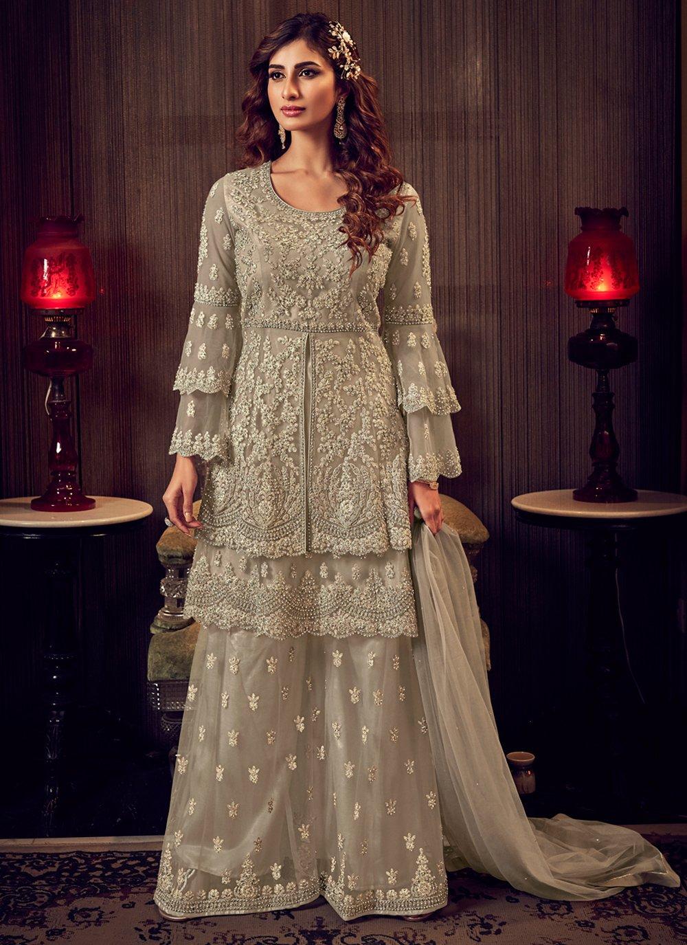 Net Grey Zari Designer Palazzo Salwar Suit