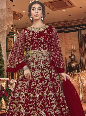 Net Maroon Embroidered Salwar Kameez