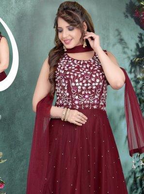 Net Maroon Resham Gown