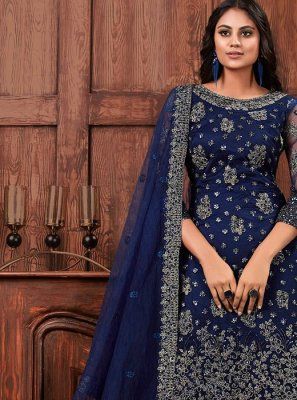 Net Navy Blue Embroidered Salwar Suit