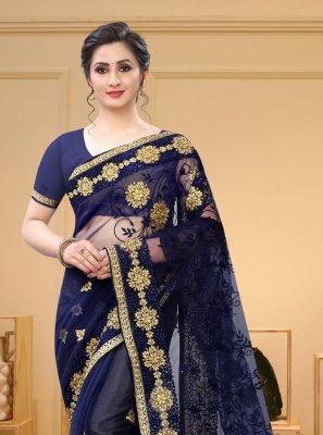 Net Navy Blue Resham Trendy Saree