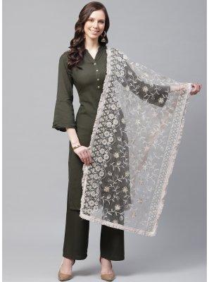 Net Off White Designer Dupatta