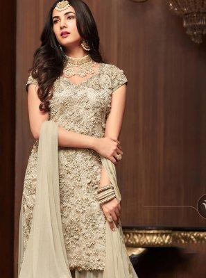 Net Off White Designer Salwar Kameez