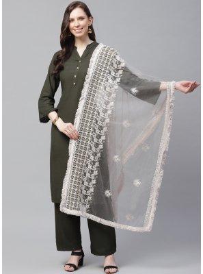 Net Off White Embroidered Designer Dupatta