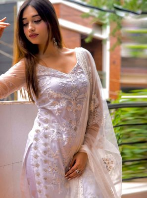 Net Pakistani Salwar Kameez in White