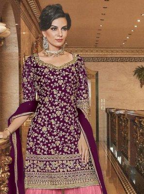 Net Palazzo Designer Salwar Kameez in Purple