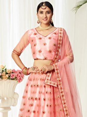 Net Peach Embroidered Designer Lehenga Choli