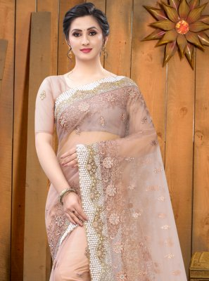 Net Peach Resham Bollywood Saree