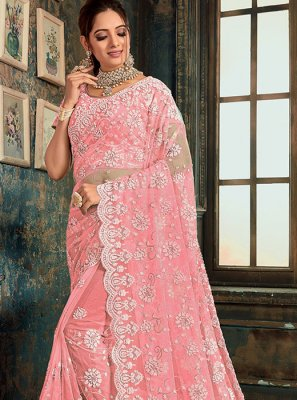 Net Pink Designer Saree