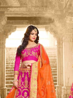 Net Pink Embroidered Lehenga Choli