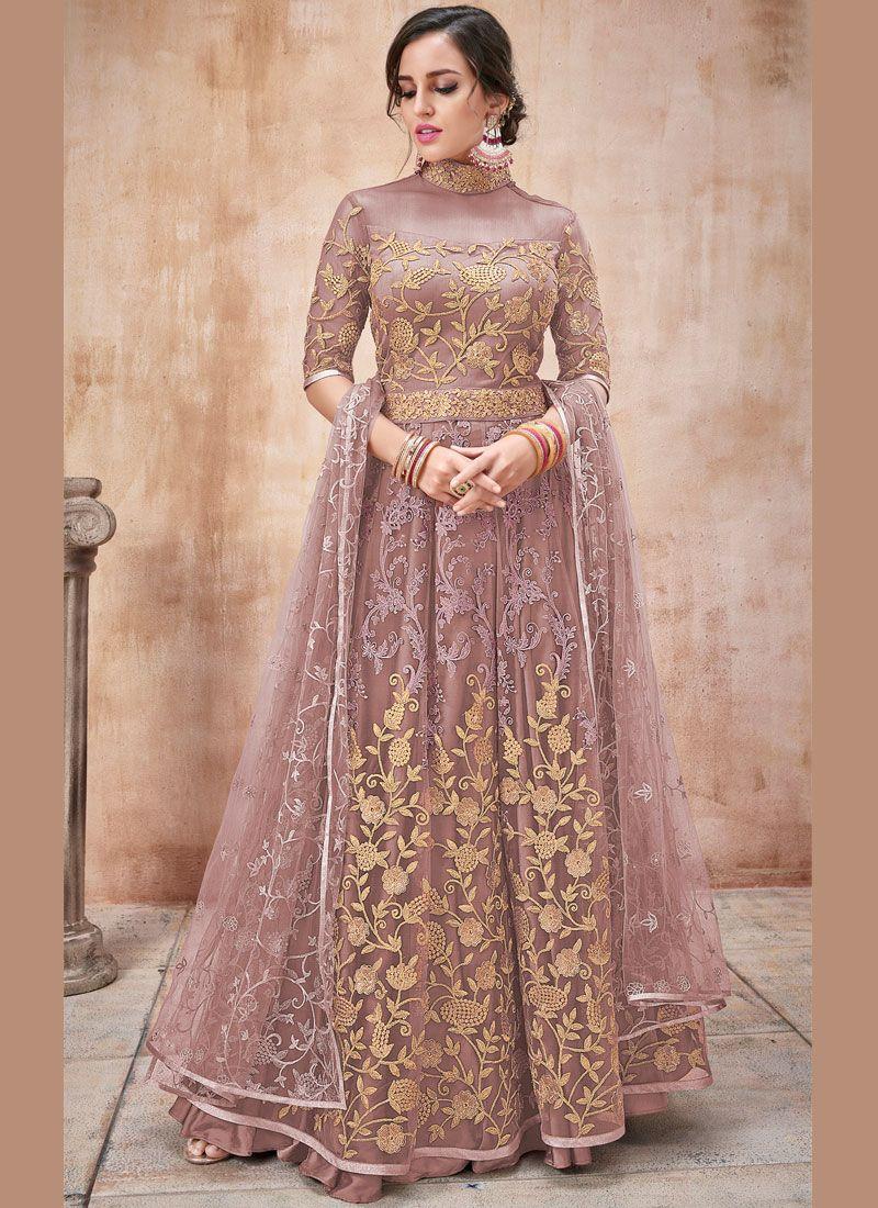 Net Pink Zari Anarkali Salwar Suit