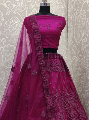 Net Purple Embroidered Designer Lehenga Choli