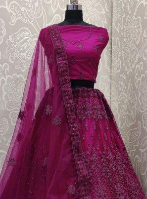 Net Purple Embroidered Designer Lehenga Choli