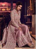 Net Purple Embroidered Palazzo Designer Salwar Kameez