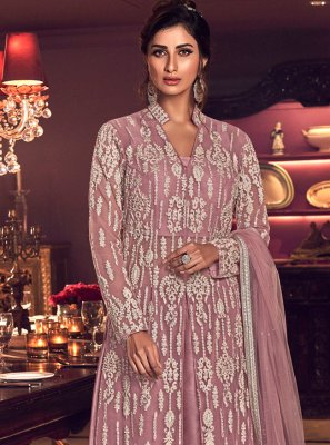 Net Purple Embroidered Palazzo Designer Salwar Kameez