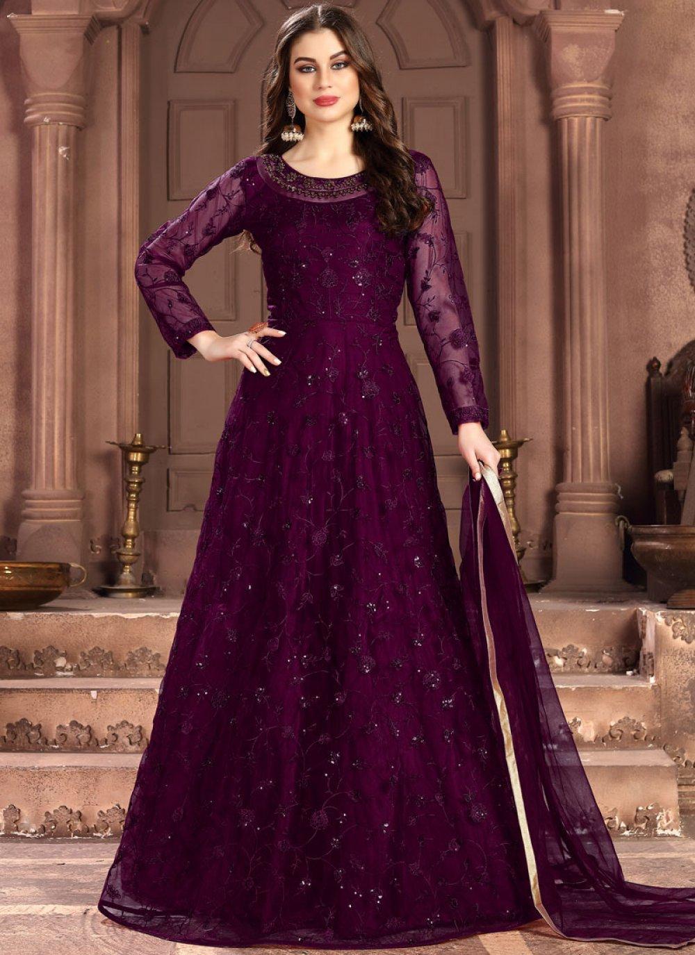 Net Purple Resham Designer Salwar Kameez