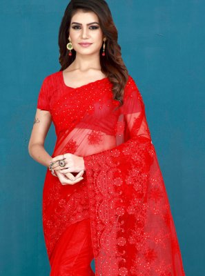 Net Red Embroidered Designer Saree