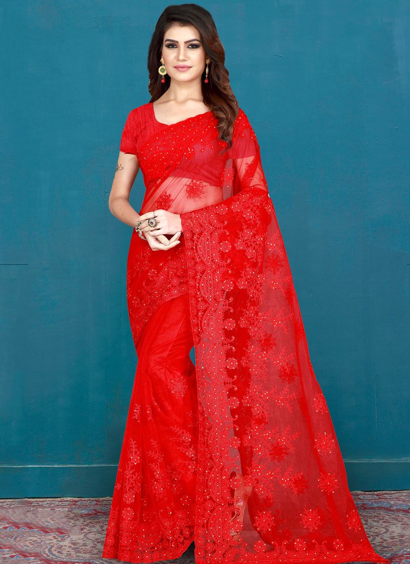 Net Red Embroidered Designer Saree