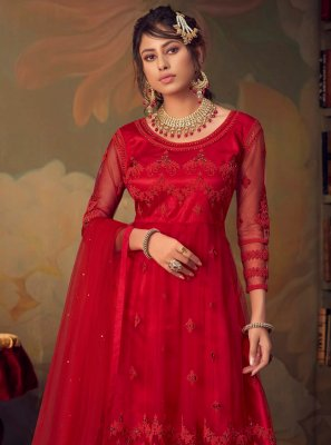 Net Red Embroidered Palazzo Suit