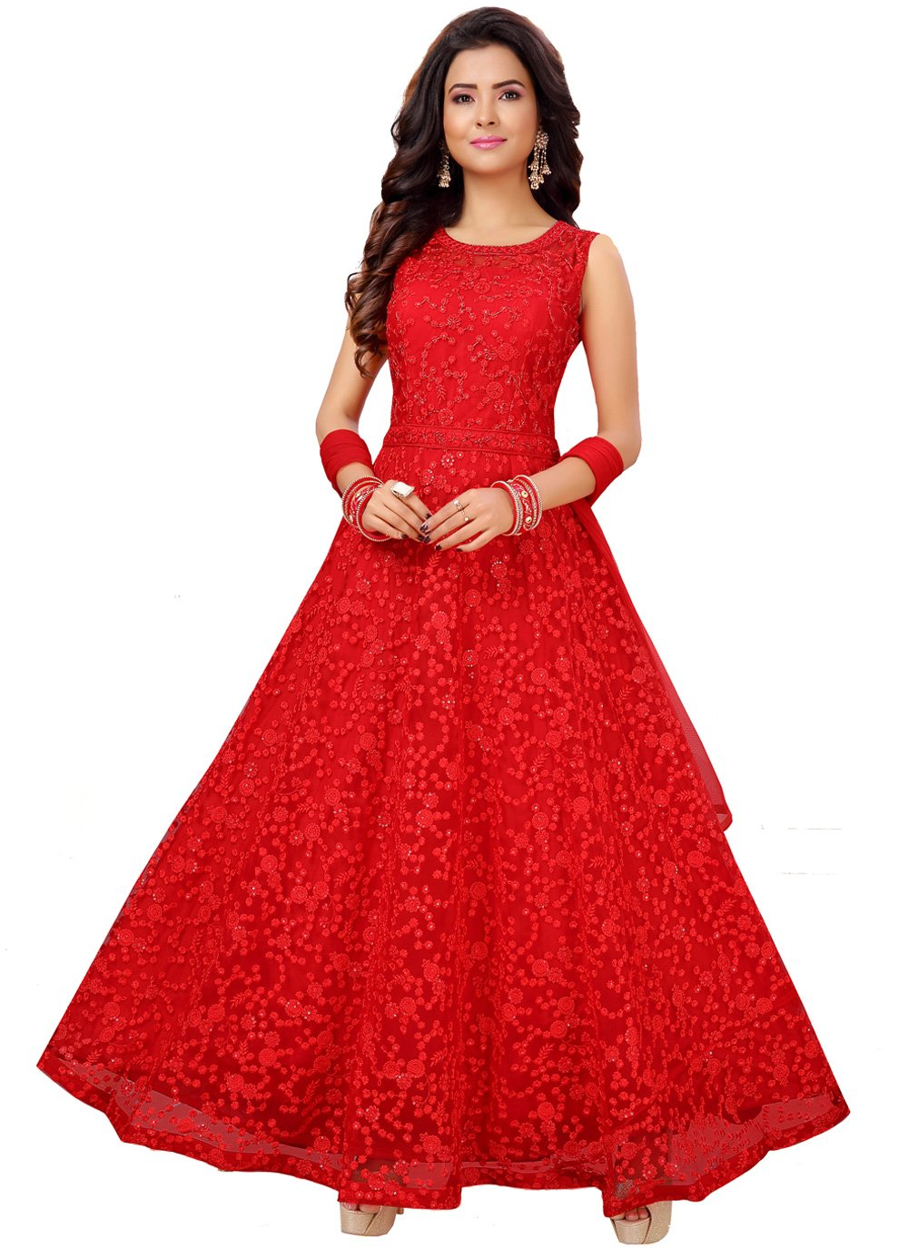Net Red Embroidered Trendy Anarkali Salwar Kameez