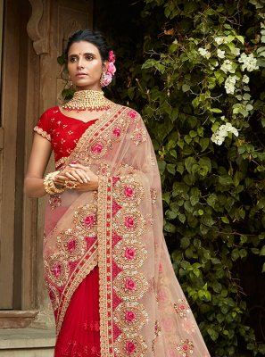 Net Red Resham Designer Saree