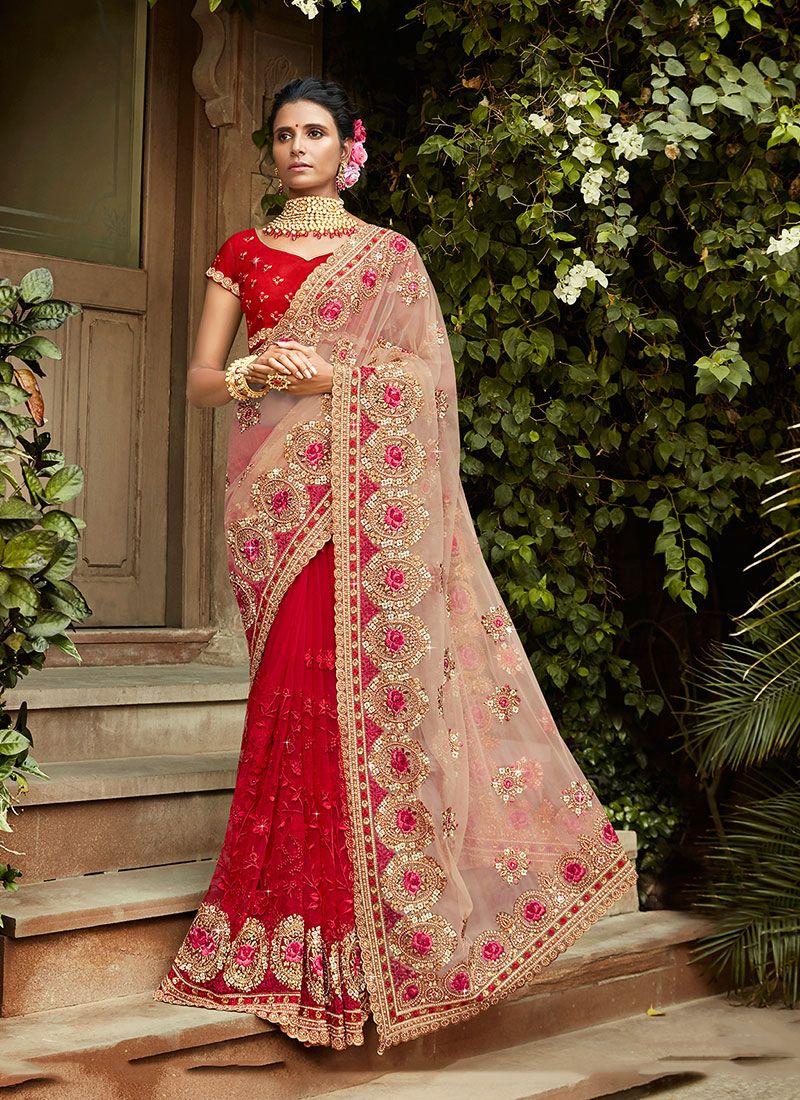 Net Red Resham Designer Saree