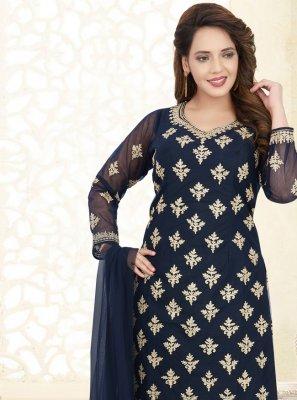 Net Resham Blue Salwar Suit