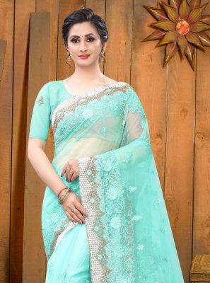 Net Resham Classic Saree in Aqua Blue