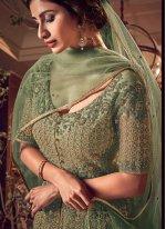 Net Resham Green Long Length Designer Anarkali Suit