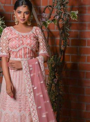 Net Resham Pink A Line Lehenga Choli