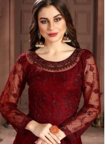 Net Resham Salwar Kameez in Red