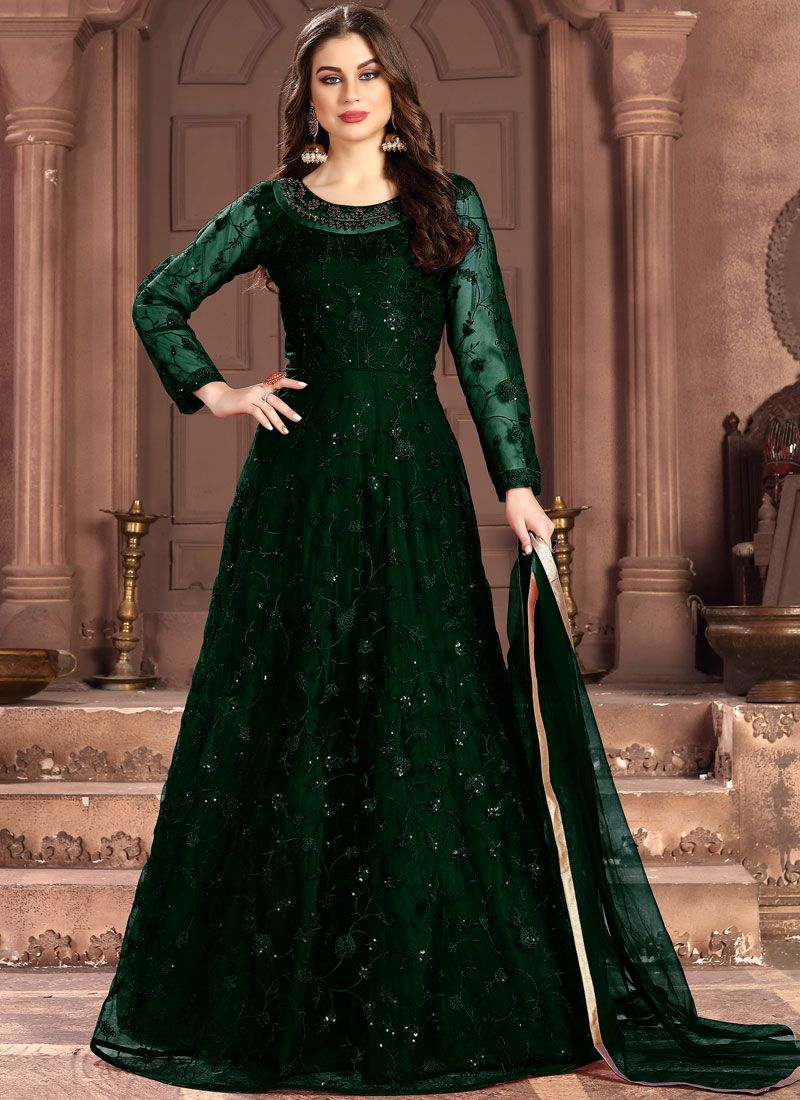 Net Salwar Suit in Green