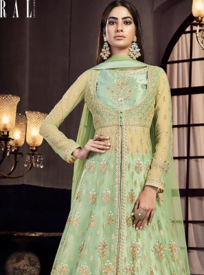 Net Sea Green Embroidered Lehenga Choli